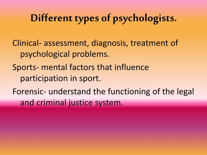 Different types of psychologists.