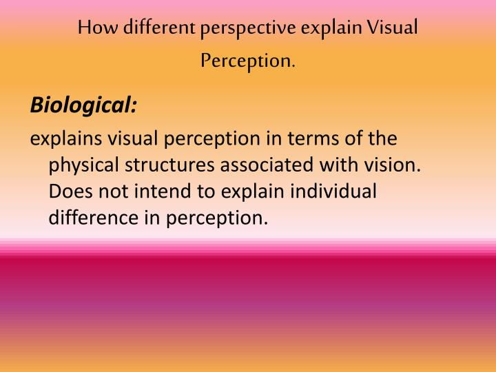How different perspective explain Visual Perception.