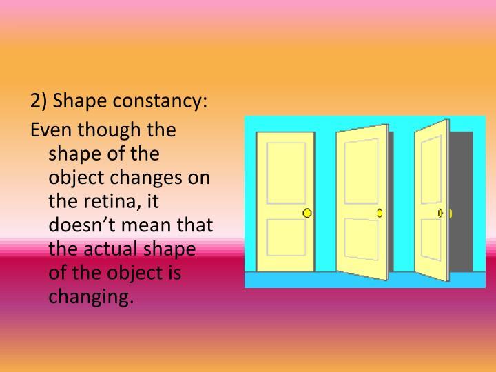 2) Shape constancy: