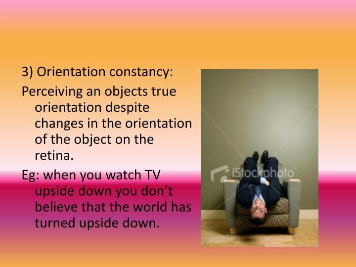 3) Orientation constancy: