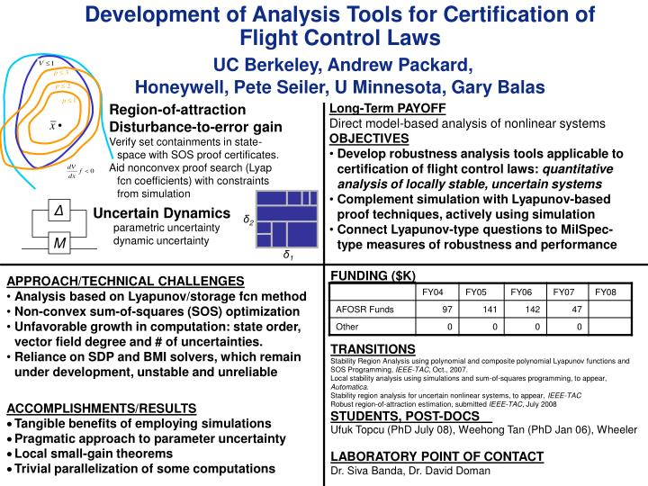 Development of Analysis Tools for Certification of