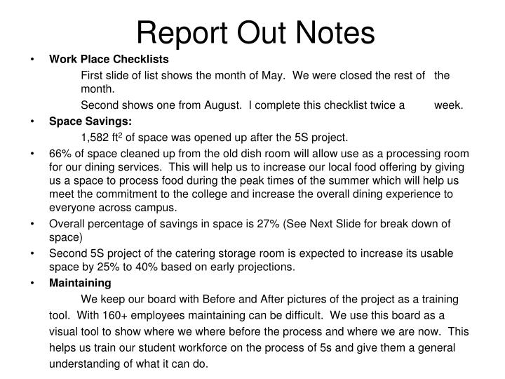 Report Out Notes