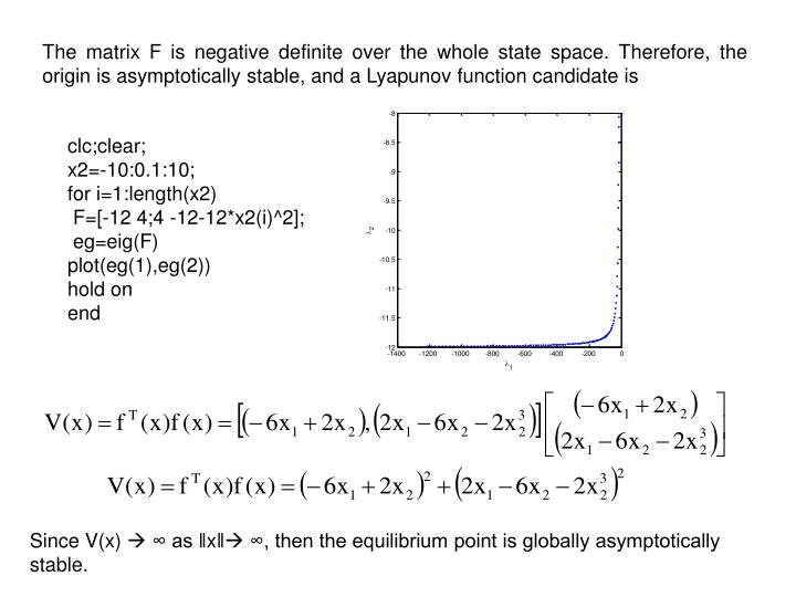 The matrix F is negative definite over the whole state space. Therefore, the origin is asymptotically stable, and a Lyapunov function candidate is