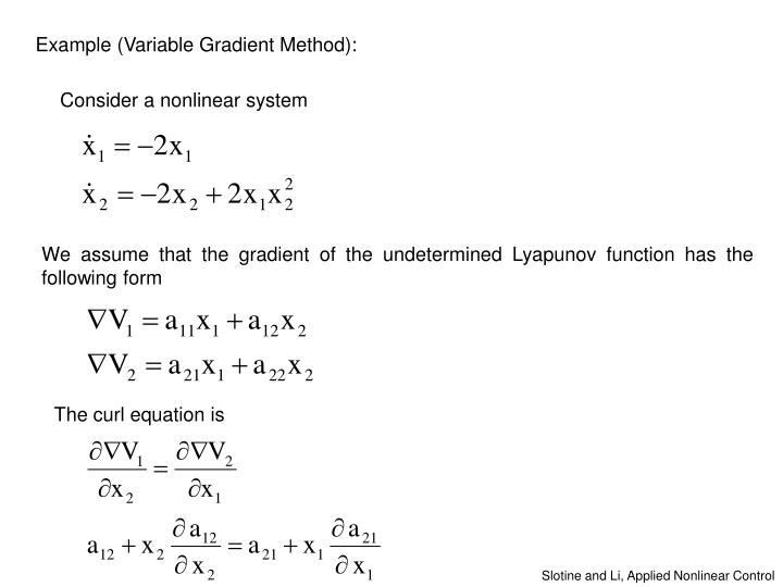 Example (Variable Gradient Method):