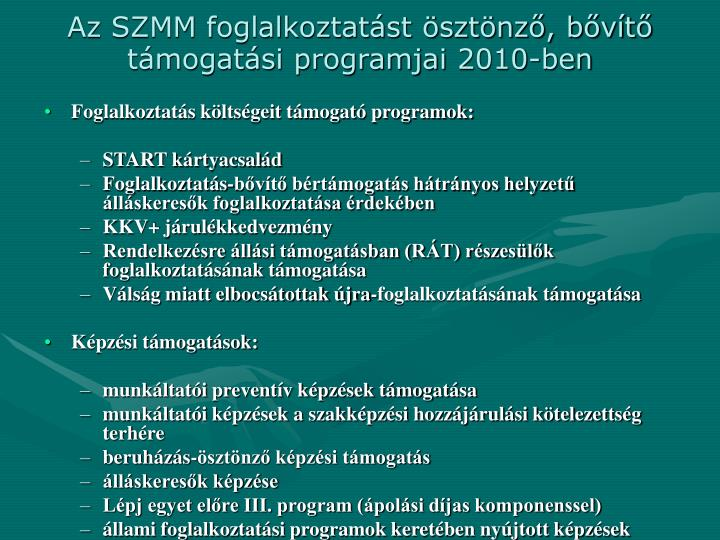 Az SZMM foglalkoztatást ösztönző, bővítő támogatási programjai 2010-ben