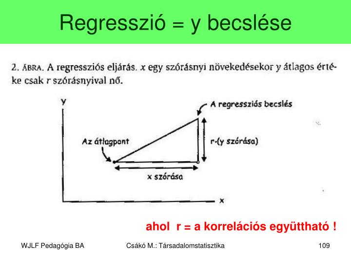 Regresszió = y becslése