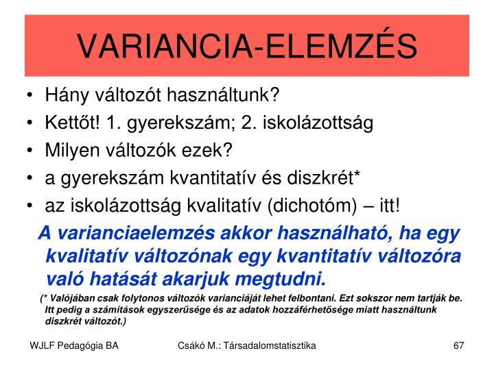VARIANCIA-ELEMZÉS