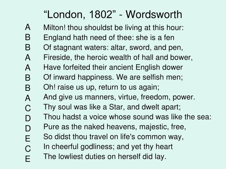 """London, 1802"" - Wordsworth"