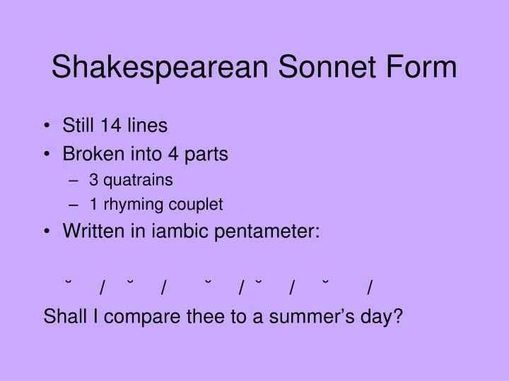 Shakespearean Sonnet Form