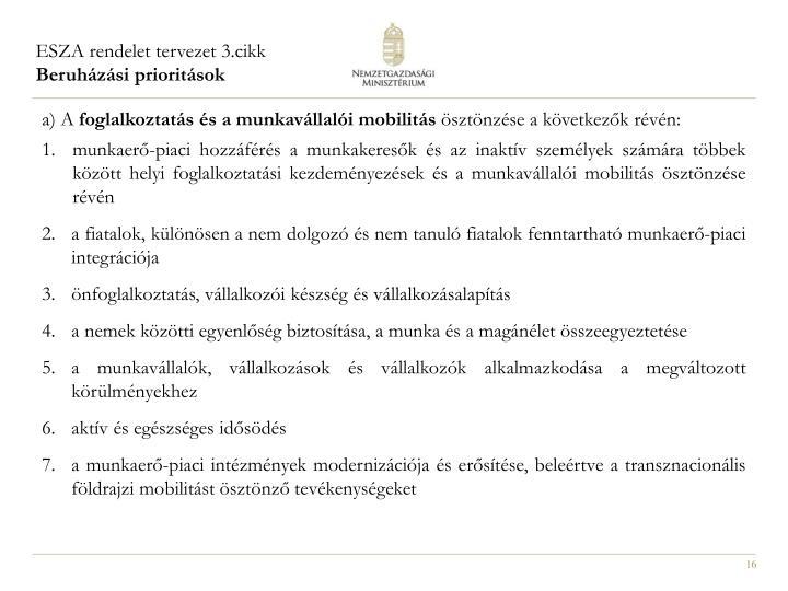 ESZA rendelet tervezet 3.cikk