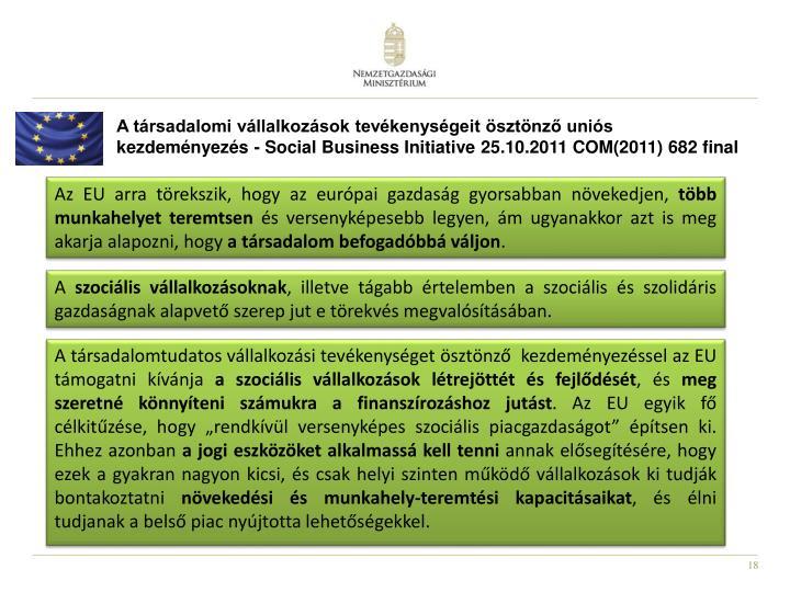 A társadalomi vállalkozások tevékenységeit ösztönző uniós