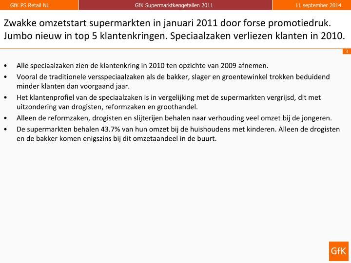 Zwakke omzetstart supermarkten in januari 2011 door forse promotiedruk. Jumbo nieuw in top 5 klantenkringen. Speciaalzaken verliezen klanten in 2010.