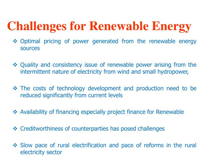 Challenges for Renewable Energy