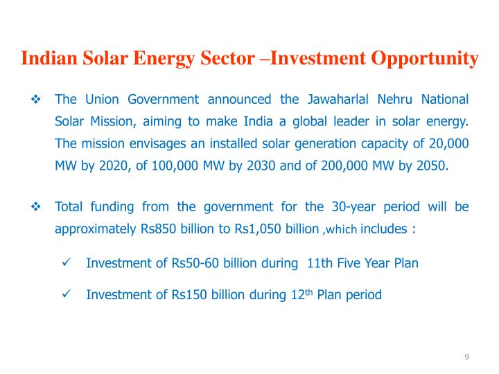 Indian Solar Energy Sector –Investment Opportunity