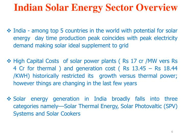 Indian Solar Energy Sector Overview