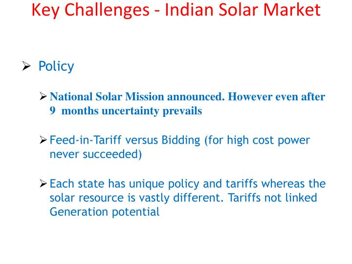 Key Challenges - Indian Solar