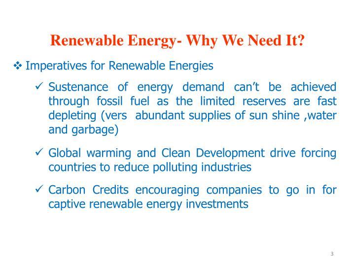 Renewable Energy- Why We Need It?