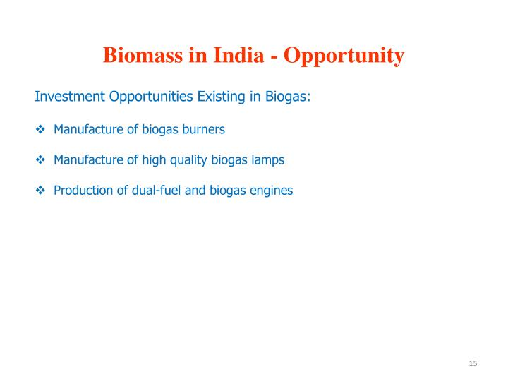 Biomass in India - Opportunity