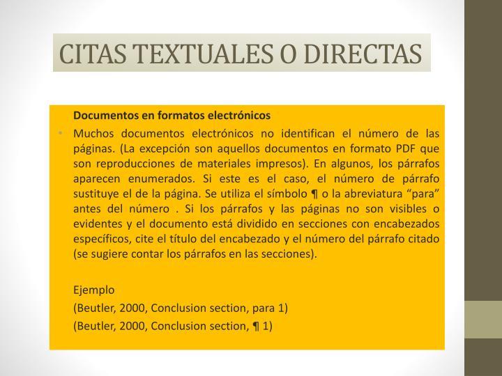 CITAS TEXTUALES O DIRECTAS