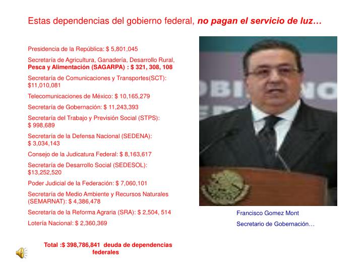 Estas dependencias del gobierno federal,