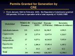 permits granted for generation by cre