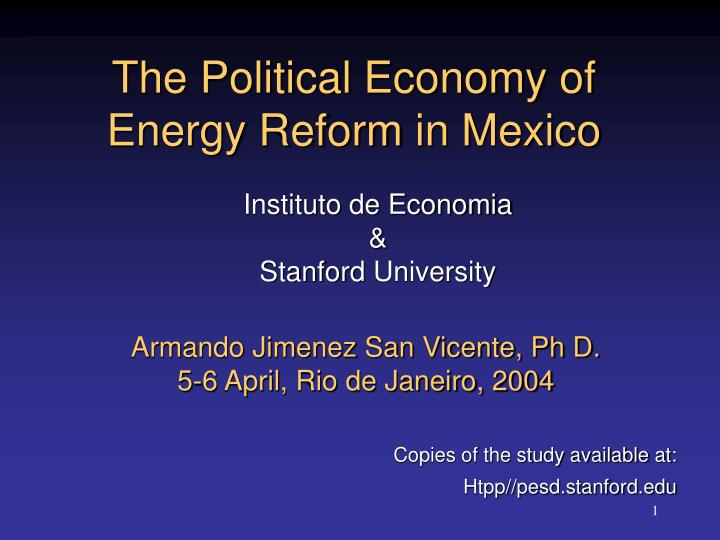 the political economy of energy reform in mexico