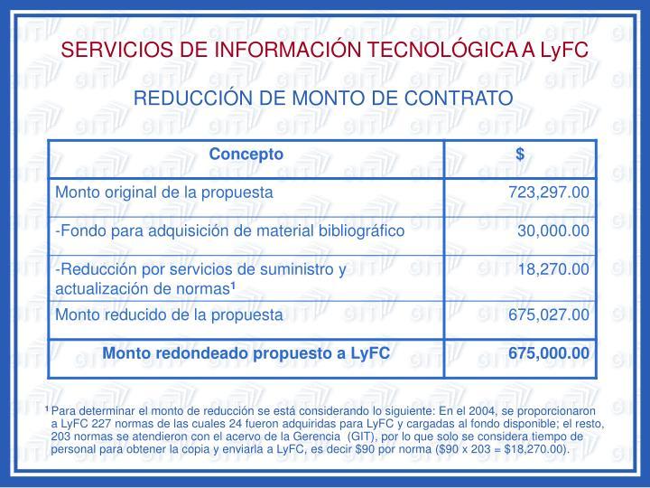 SERVICIOS DE INFORMACIÓN TECNOLÓGICA A LyFC
