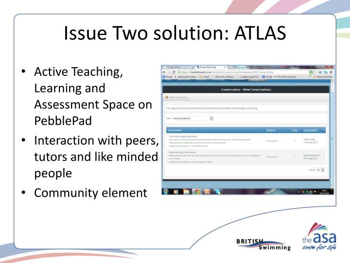 Issue Two solution: ATLAS