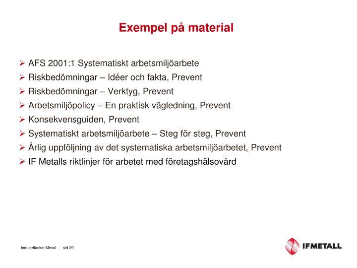 Exempel på material