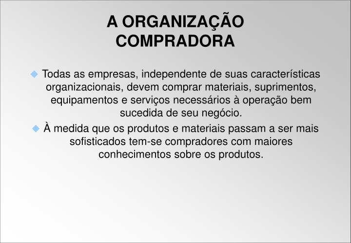 Todas as empresas, independente de suas características organizacionais, devem comprar materiais, suprimentos, equipamentos e serviços necessários à operação bem sucedida de seu negócio.