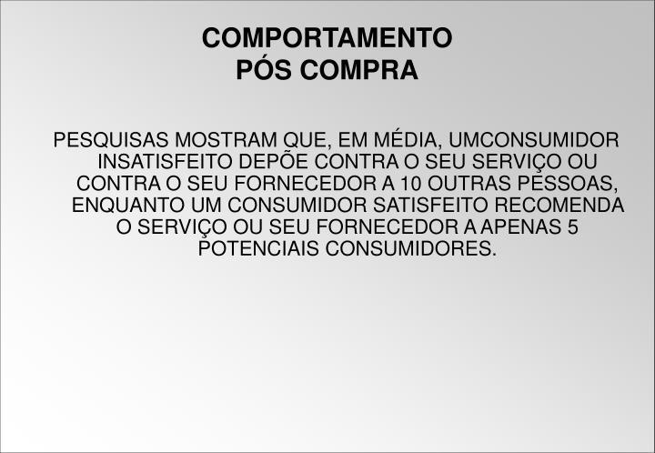 PESQUISAS MOSTRAM QUE, EM MÉDIA, UMCONSUMIDOR INSATISFEITO DEPÕE CONTRA O SEU SERVIÇO OU CONTRA O SEU FORNECEDOR A 10 OUTRAS PESSOAS, ENQUANTO UM CONSUMIDOR SATISFEITO RECOMENDA O SERVIÇO OU SEU FORNECEDOR A APENAS 5 POTENCIAIS CONSUMIDORES.