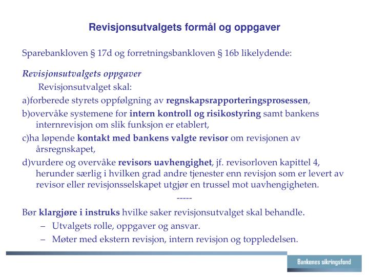 Revisjonsutvalgets formål og oppgaver