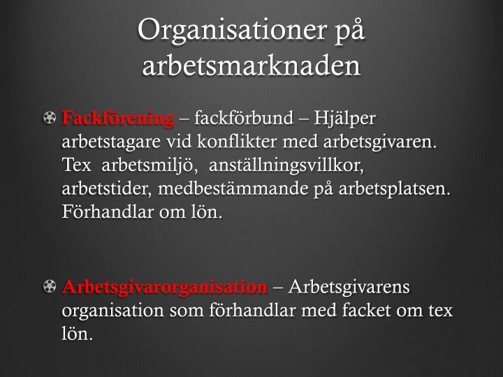 Organisationer på arbetsmarknaden