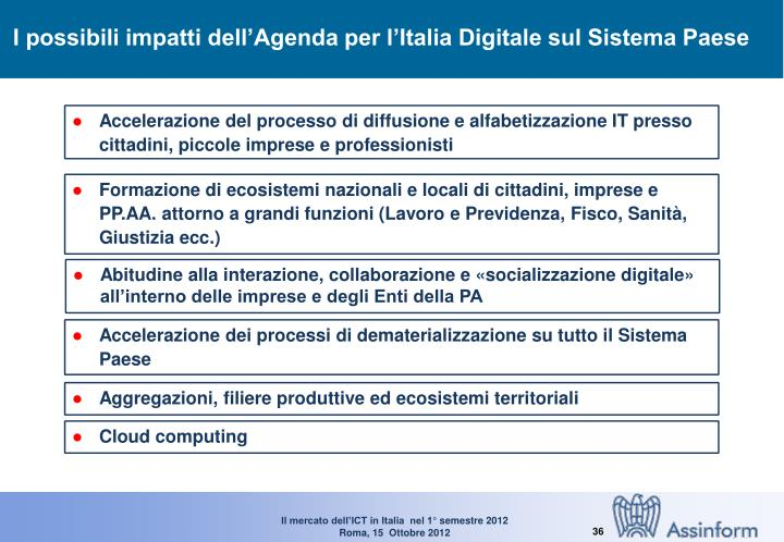 I possibili impatti dell'Agenda per l'Italia Digitale sul Sistema Paese