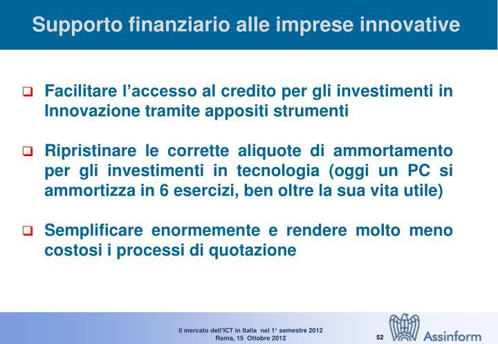 Supporto finanziario alle imprese innovative