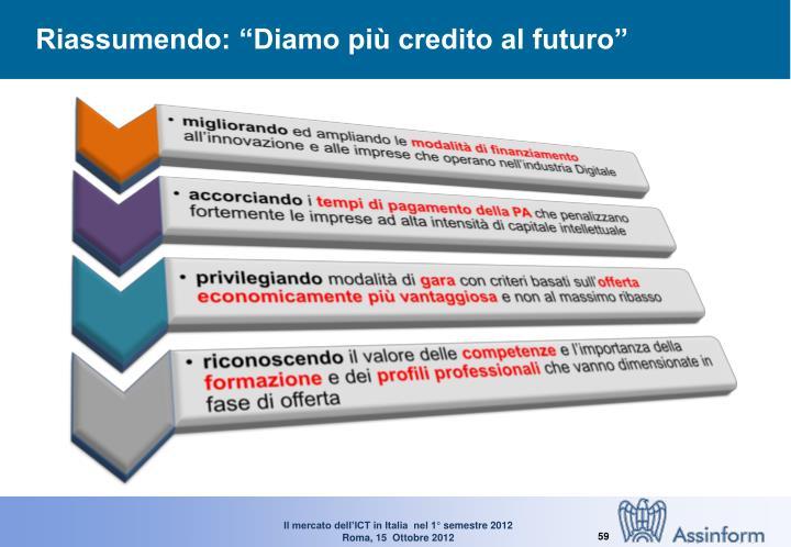 """Riassumendo: """"Diamo più credito al futuro"""""""