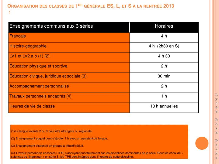 Organisation des classes de 1 re g n rale es l et s la rentr e 2013