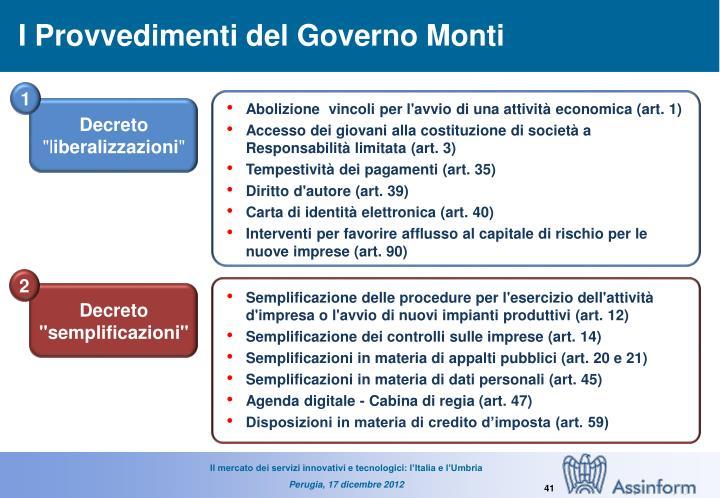 I Provvedimenti del Governo Monti