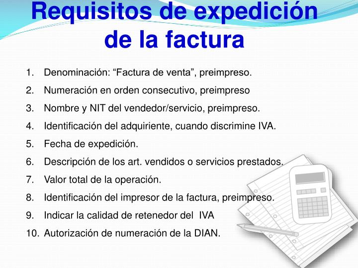 Requisitos de expedición de la factura