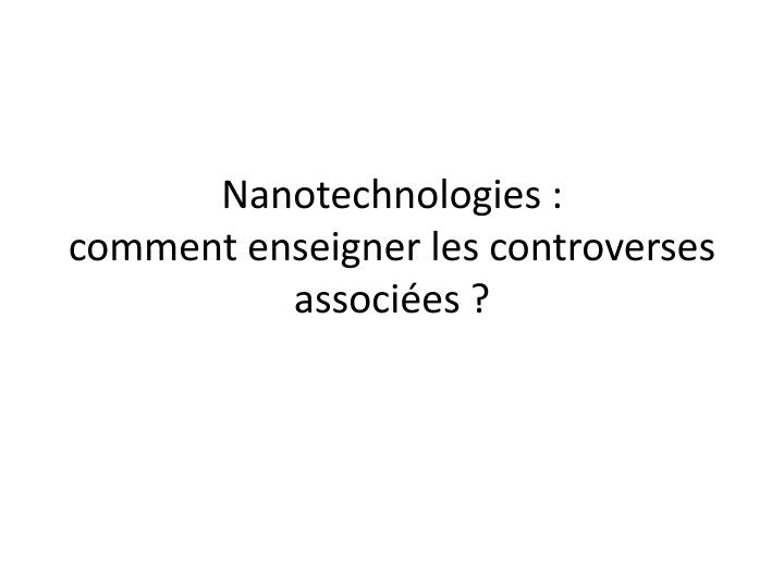 Nanotechnologies :