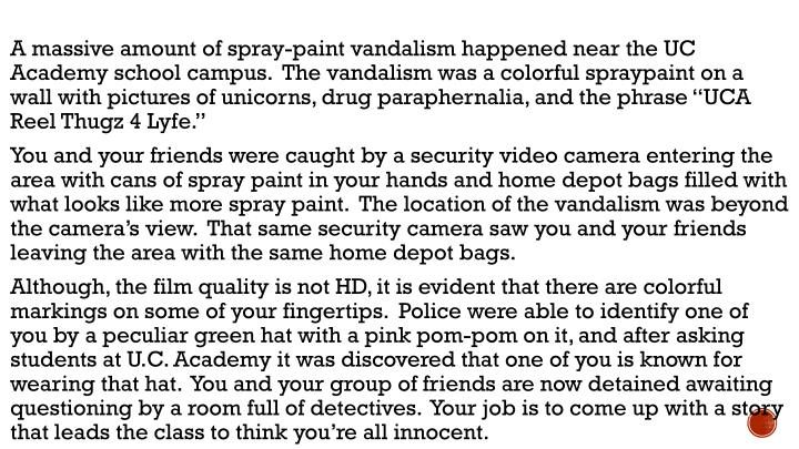 """A massive amount of spray-paint vandalism happened near the UC Academy school campus.  The vandalism was a colorful spraypaint on a wall with pictures of unicorns, drug paraphernalia, and the phrase """"UCA Reel Thugz 4 Lyfe."""""""