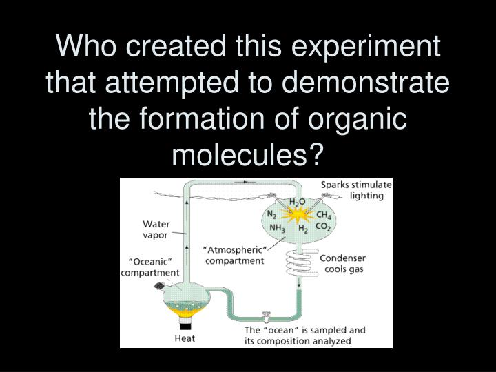 Who created this experiment that attempted to demonstrate  the formation of organic molecules?