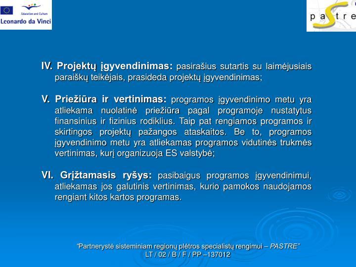 IV. Projektų įgyvendinimas: