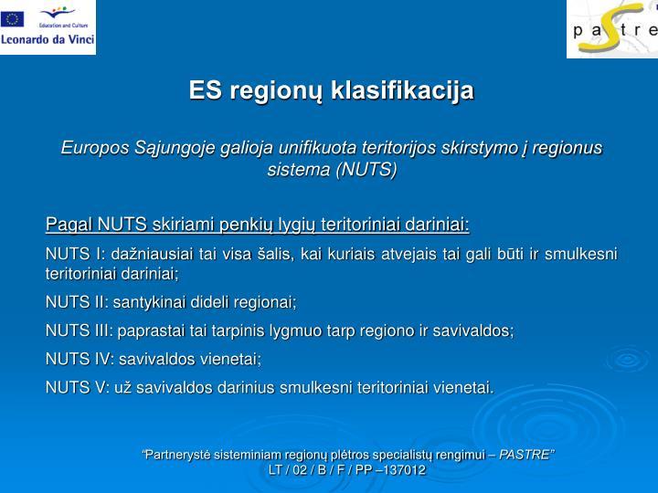 ES regionų klasifikacija