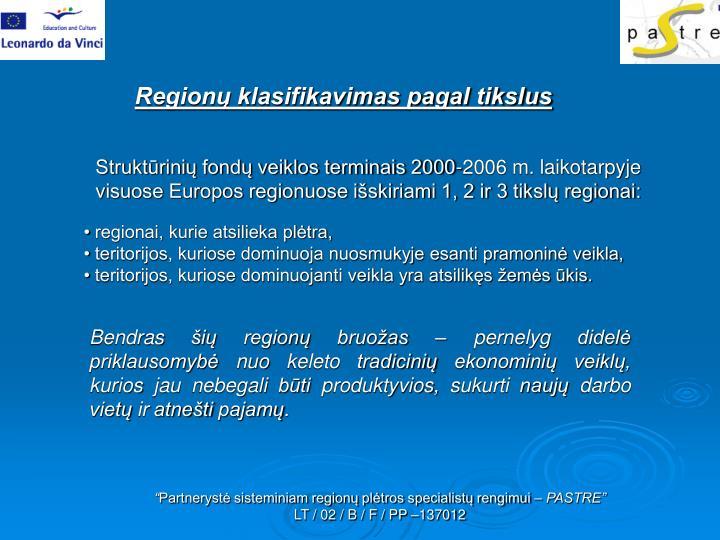 Regionų klasifikavimas pagal tikslus