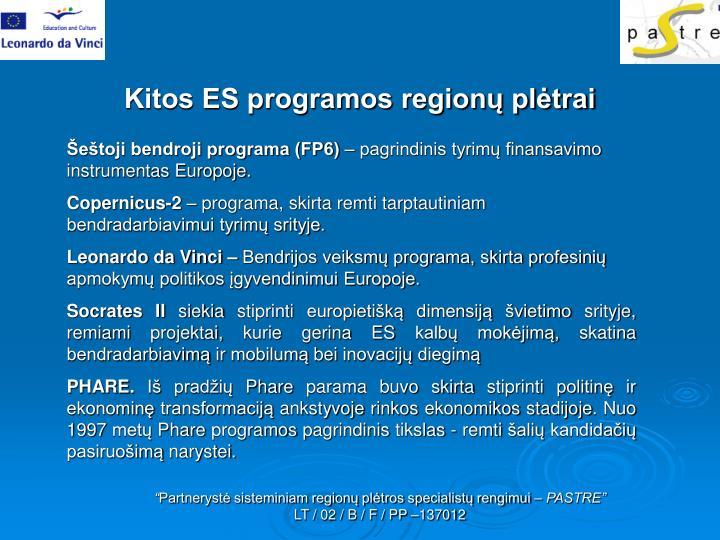 Kitos ES programos regionų plėtrai