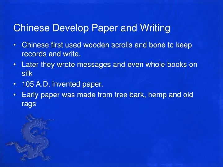 Chinese Develop Paper and Writing