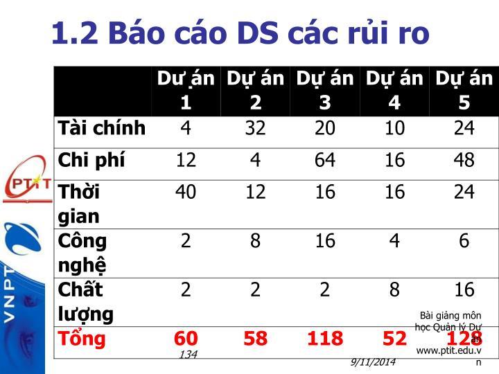1.2 Báo cáo DS các rủi ro