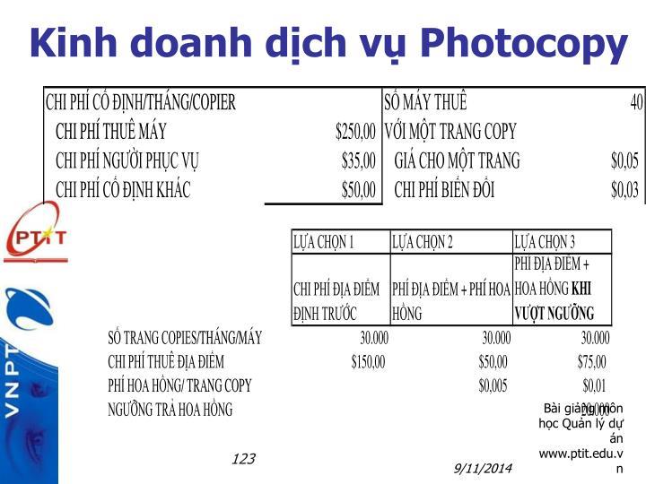 Kinh doanh dịch vụ Photocopy