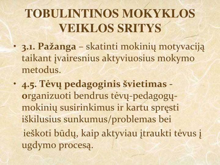 TOBULINTINOS MOKYKLOS VEIKLOS SRITYS